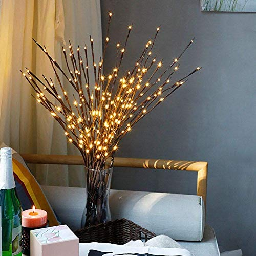 FOXSM 3 Pack Branch Lights - Led Branches Battery Powered Decorative Lights Filler Willow Decoration Warm White ()