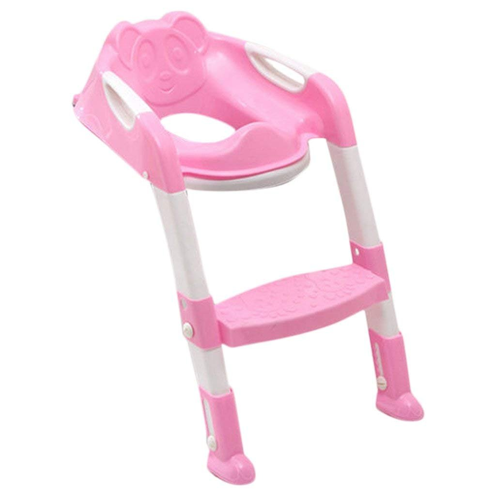 Fold Potty Toilet Train Chair Seat Ladder Child Kid with Non-Slip Step Multicolor - pink, 35x30x17cm Wilk