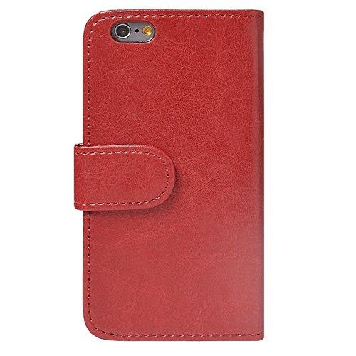 Phone Taschen & Schalen Texture Wallet Style Ledertasche mit Card Slots für iPhone 6 Plus & 6S Plus ( Color : Red )