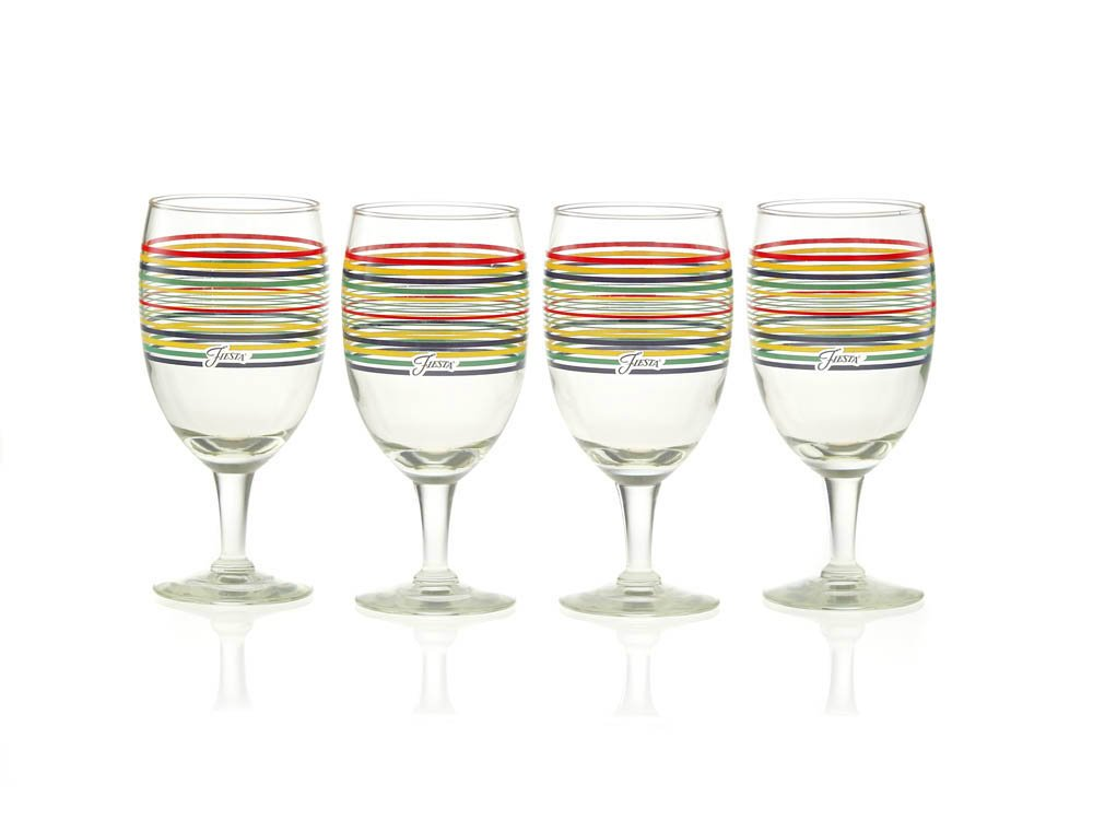 Fiesta Lapis Stripe 15-Ounce All Purpose Goblet Glass (Set of 4) CULVER 185-439