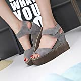 MEIREN 2016 Summer new thick-soled platform Sandals women shoes waterproof cold fish mouth high boots wedges women's shoes , gray , 36