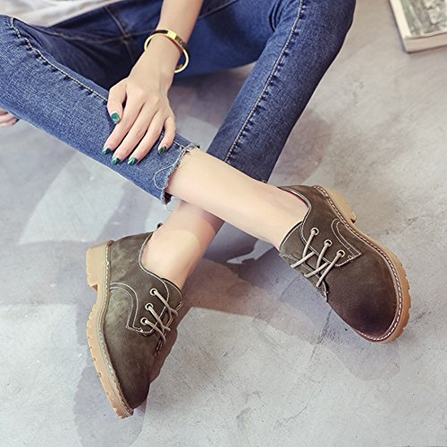 Shoes JULY T Wedge Women's Toe Green Platform Comfy Mubuck Shoes Round Fashion Retro Low Oxfords Od5d8Brwqx
