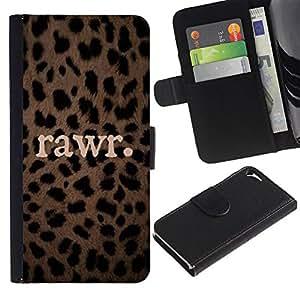 iBinBang / Flip Funda de Cuero Case Cover - Leopardo Animal Patrón texto - Apple Iphone 5 / 5S