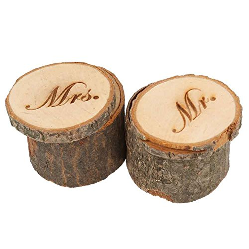 CHUANGLI 2pcs Wedding Ring Box Rustic Wooden Wedding Ring Case Weddings Accessories Mr Mrs Jewelry Boxes by CHUANGLI (Image #2)