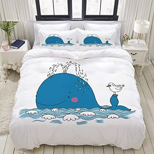(VAMIX Sea Mammal Caricature Swimming in The Ocean and Splashing Water with Seagull Studio Single Apartment Decorate Decorative Custom Design 3 PC Duvet Cover Set Queen)