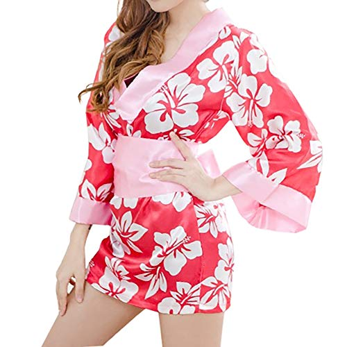 Japanese Kimono Role Play Lingerie Set 3/4 Sleeve Kimono Robe Mini Dress with OBI Belt Sexy Girl Geisha Cosplay Costume Outift (RedΠnk)