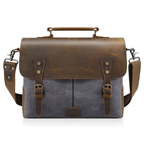 Kattee Genuine Leather Canvas Messenger Bag for Men, 14-inch Vintage Laptop Bag Men Laptop Briefcase, Shoulder Bag with Detachable Strap - Closures Grey Snap Basic Magnetic