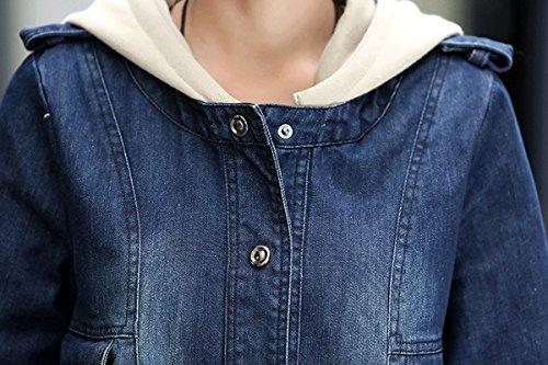 Longue Denim Tops Jacket Taille En Windbreaker Manteau Long Blouson Jean Hoodie Veste Casual Longues Manches Aeneontrue Femme Loose Coat Grand qwz077I