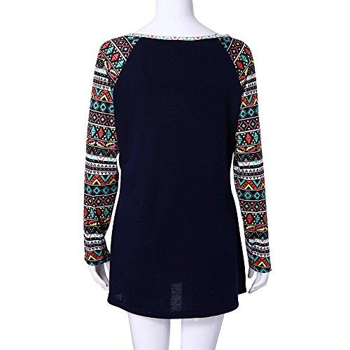 Blouse Marine Automne Manche T Shirt Tonsi Longue Femme Haut Imprime Patchwork Chemisier Top OHx4Uav
