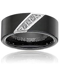 Triton Men's Black Tungsten 8mm Three-Diamond Wedding Band (1/10cttw, I-J Color)