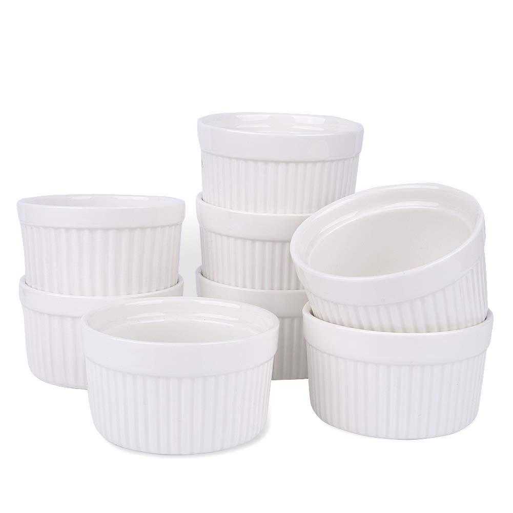 Porcelain Ramekins, SZUAH Ramekin Set of 8, 6oz (3.5 INCH) for Baking, Creme Brulee, Souffle, Appetizer, Custard, Pudding, Dipping Bowl. by SZUAH