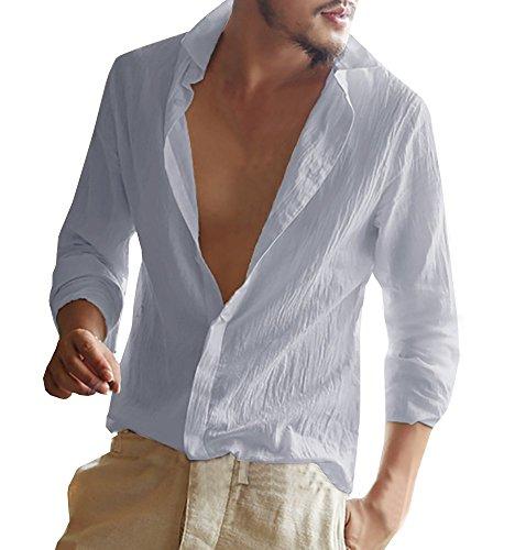 Mens Long Sleeve Shirt Cotton Tees Loose Fit Button Down Blouse Summer Beach Linen Casual Hippie Tops