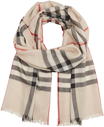 Burberry Check Wool Silk Gauze Scarf - Stone Check (Gauze Wool)