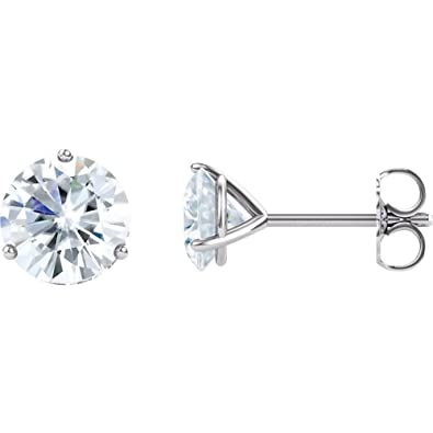 9356a78e7 Jewels By Lux Set 14k White Gold with Diamond Charles & Colvard Forever One  Moissanite Colorless
