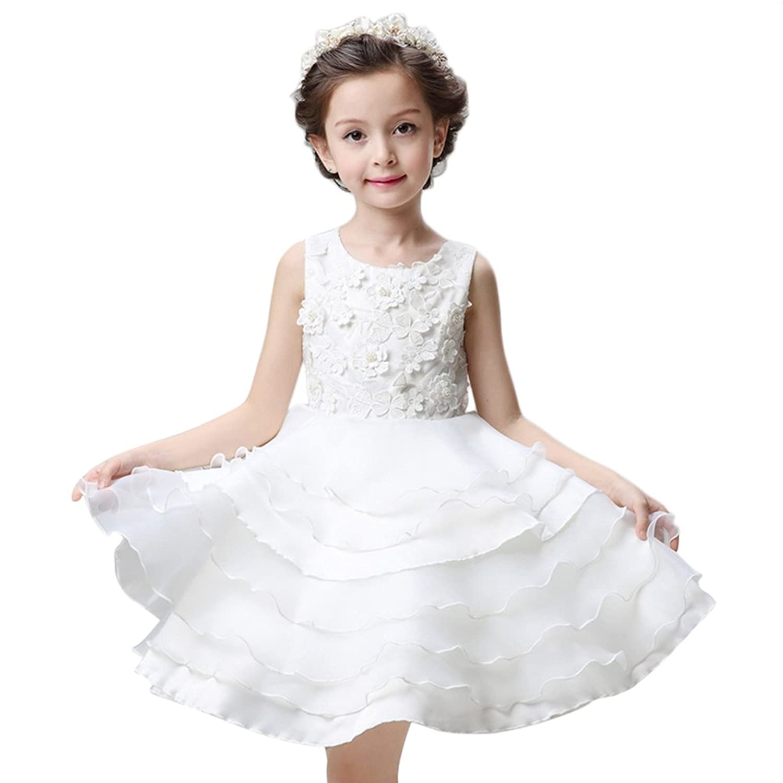 Vimans? Lovely Short Scoop Layered Flower Girls Bridesmaid Dress for Wedding