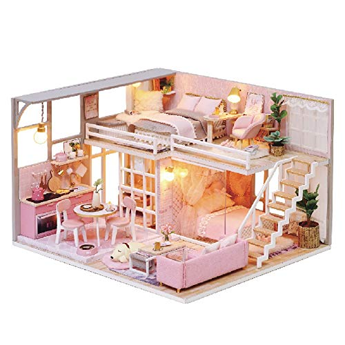Kisoy Romantic and Cute Dollhouse Miniature DIY House Kit Creative Room Perfect DIY Gift for Friends, Lovers and Families (Girls' Dream) with Dust Proof Cover