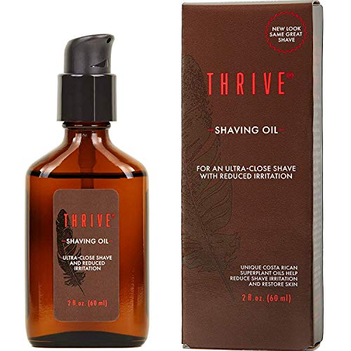 Thrive Natural Shave Oil for Men, 2 Ounces (60mL) - Replaces Pre-Shave Oils, Shaving Creams, Gels, and Foams - Shaving Oil Made in USA with Organic & Unique Premium Natural Ingredients - Vegan