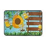 Chen Miranda Bee Wooden Boards Door Mat Carpets Indoor Outdoor Area Rugs Office Door Mat Non-slip for Bedroom Bathroom Living Room Kitchen Home Decorative 23.6x15.7 inch Lightweight