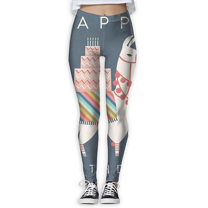 Amazon.com: yuotry pantalones de yoga feliz cumpleaños Llama ...