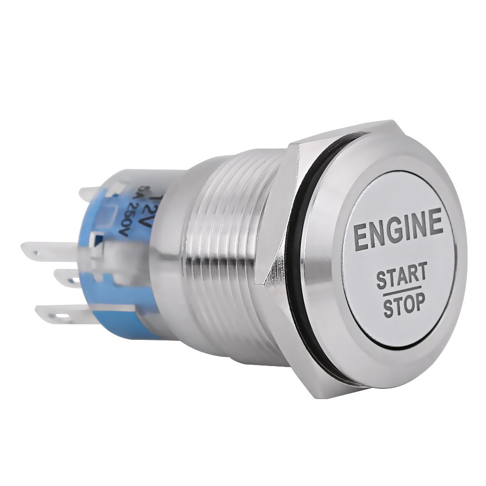 12V DC LED Car Engine Start Stop Push Button Switch Ignition Starter Switch Universal Metal Press LED Push Button Switch White Silver