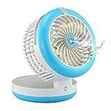 Topwell Humidifier Fan USB Mini Cooling Misting Fan Portable Water Spray Fan Rechargeable Humidifier Personal Fan Desktop Humidifier (Blue)
