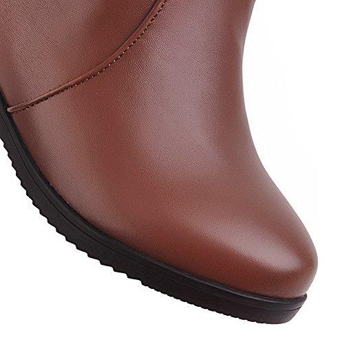 BalaMasa Womens Casual Comfort Wedges Platform Slip-Resistant Urethane Boots ABL10082 Brown DKx4ax