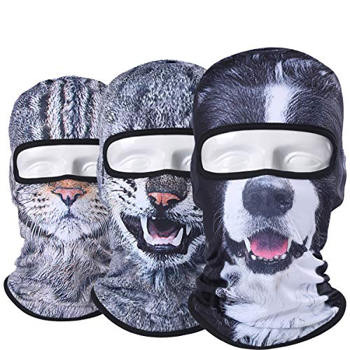 (WTACTFUL 3 Pack - 3D Animal Balaclava Head Cove Hood Face Mask Protection Wind Dust Snow UV for Hunting Fishing Skiing Snowboard Bicycle Riding Driving Motorbike Cold Weather Winter Sport 100-114-117)
