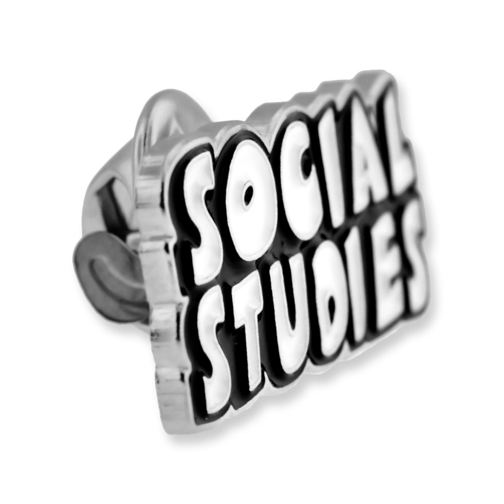 PinMart Black and White Social Studies Word School Teacher Enamel Lapel Pin