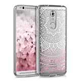 kwmobile TPU Silicone Case for ZTE Axon 7 Mini - Crystal Clear Smartphone Back Case Protective Cover - Light Pink White Transparent