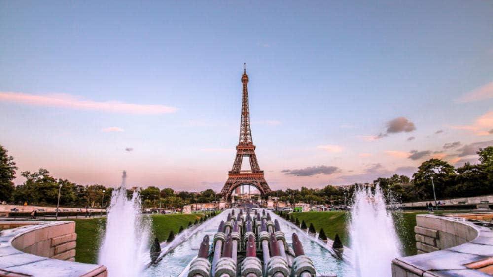 NOBRAND Rompecabezas Rompecabezas 1000 Piezas Torre Eiffel París Tarde De Oro Francia Fuente Hobby Home Decoration DIY