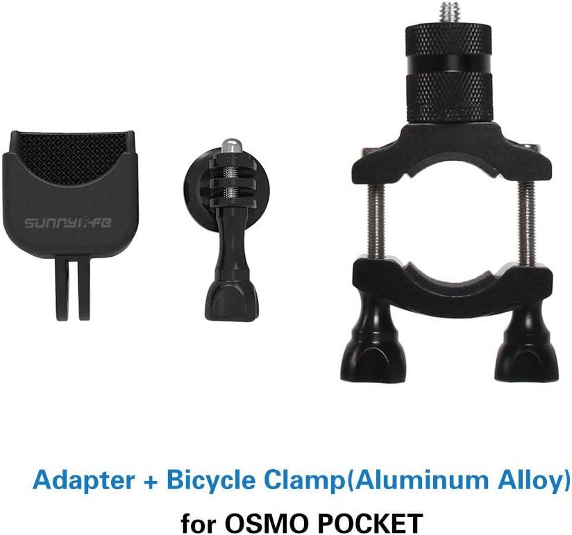 Tineer Aluminum Alloy Bicycle Mount Clamp Holder Bike Bracket Holder Stabilizer Adapter Bracket Set for DJI OSMO Pocket Handheld Gimbal Camera Accessory