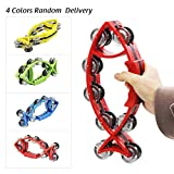 ammoon Hand Held Bell Rattles Fish-shape Tambourine Percussion with Double Metal Jingles Children Educational Musical Toy for Party Dancing Games Color Random Delivery