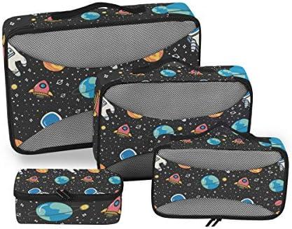 漫画宇宙飛行士スペース 荷物パッキングキューブオーガナイザートイレタリーランドリーストレージバッグポーチパックキューブ4さまざまなサイズセットトラベルキッズレディース