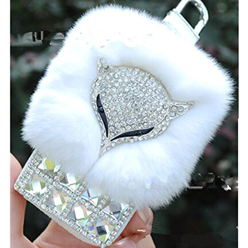 EVTECH(TM) Universal Car Smart Key Chain Leather Holder Cover Case Fob Remote 3D Handmade Luxury Shining Glitter Crystal Diamond Rhinestones (100% Han…