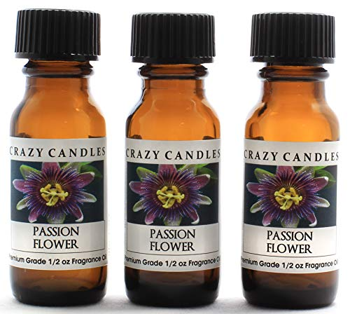 Crazy Candles Passion Flower 3 Bottles 1/2 FL Oz Each (15ml) Premium Grade Scented Fragrance Oil (Sweet fruity floral Aroma) - Passion Flower Candle Scent