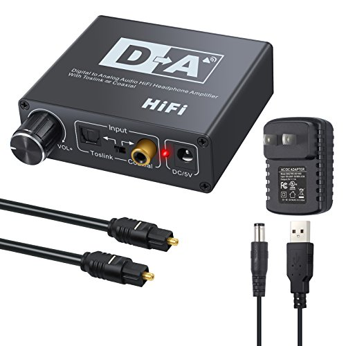 AUTOUTLET DAC Digital to Analog Converter with Volume Control Bi-Directional Optical Toslink to Digital Coaxial Stereo L/R RCA 3.5mm Jack Audio Cable Adapter with for PS3 PS4 XBox HD DVD Sky Amplifier by AUTOUTLET