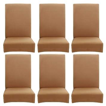Chaise Protection MaisonHôtelBanquetCamel6 Élastique Pièces Pure Couleur À Housse MangerMince Pour De Vanpower Salle j34LAq5R