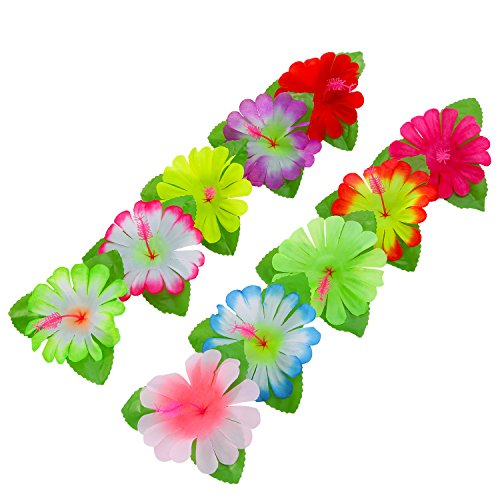 Shappy 60 Pieces Hibiscus Flowers 4.7 Inch Hawaiian Flowers Artificial Flowers for Costume, Birthday Party Favors, Event Decoration Supplies, 10 (60's Costume Party)