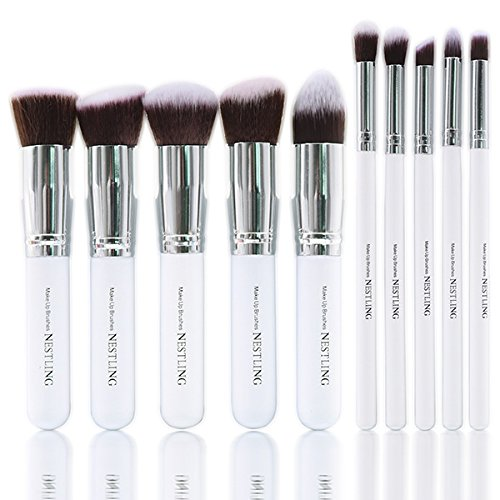 Nestling Makeup Brush Set Cosmetics Foundation Blending Blush Eyeliner Face Powder Brush Kabuki Blue Hair (10pcs Silver (White Face Makeup Powder)