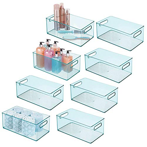 """mDesign Storage Organizer Container, Handles for Kids/Child Supplies in Kitchen, Pantry, Nursery, Bedroom, Playroom, Holds Snacks, Bottles, Baby Food, Diapers, Wipes, Toys, 14.5"""" L, 8 Pack - Sea Blue"""