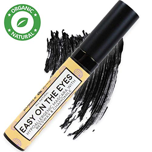 Bubble & beau Easy On The Eyes Organic Lengthening Black Mascara, Stimulates Growth With Rosemary and Bees Wax for Women and Teens ()