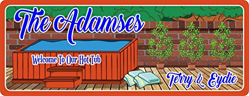 (Personalized Hot Tub Sign with Redwood Pool Design & Your Custom Names - Custom Welcome Sign for Your Hot Tub or Backyard Decor)