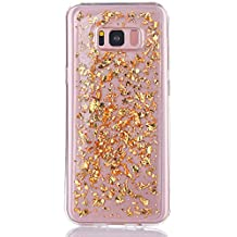Samsung Galaxy S8 Foil Leaf Flake Glitter Bling Case Thin Sleek Luxury Slim Durable Drop Protection Protective Shockproof Flexible S8 Accessories [ TPU Gel Cover ] By Tech Express (24 Karat Gold)