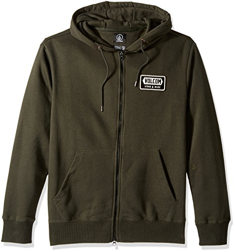 (Volcom Men's Shop Zip Up Fleece Hoodie, Dark Gray, S)