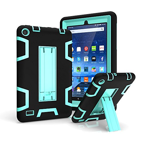 Photo - Kindle Fire 7 inch Case,Y&M(TM) ShockProof / High Impact Resistant Heavy Duty Rigid PC + Soft Silicone Protective Cover for Amazon Kindle Fire 7 inch (2015 release),Black/Mintgreen