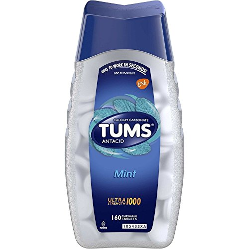 TUMS UltraStrength 1000 Peppermint Antacid Chewable Tablets for Heartburn Relief, 160 Count