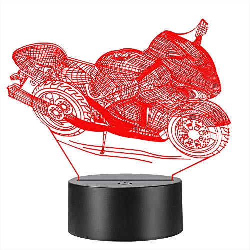 Motorcycle 3D LED Lamp Multicolor Night Light Illusion Fade Atmosphere Flash Change Touch Controller Power by USB Or 3PCS AA Battery Table Desk Decorative