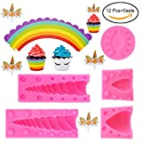 Kabi 5PCS Unicorn Silicone Cake Toppers Mold Set for Baking Cake Decoration Making Sugar Craft Candy Chocolate,with Unicorn Cupcake Toppers & Wrappers Double Sided 12 Sets