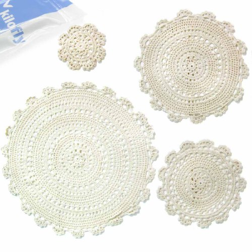 Crochet Doilies (kilofly Handmade Crochet Round Cotton Lace Table Placemats Doilies Assorted Value Pack [Set of 4], Medallion,)