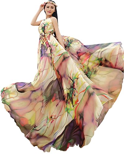 Medeshe Women's Chiffon Floral Holiday Beach Bridesmaid Maxi Dress Sundress (US Size 6-14; Length-135cm, Tropical Color) - Dresses Cute Holiday